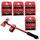 Markeny 5 Pack Mover Tool Set Furniture Lifter Durable Heavy Appliance Furniture Lifting 360 Degree Rotatable Pads, 1 Lifting Rod and 4 Furniture Moving Rollers, Red