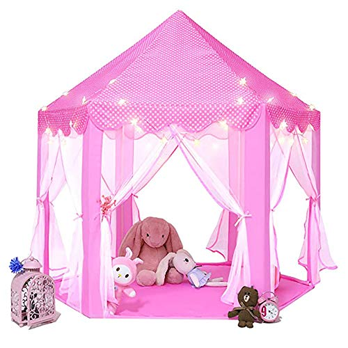 Portable Princess Tent Girls Large Playhouse Kinderkasteel Play Tent Met Star Lights Speelgoed Voor Kinderen Indoor En Outdoor Games, 55 '' X 53 '' (Dxh)