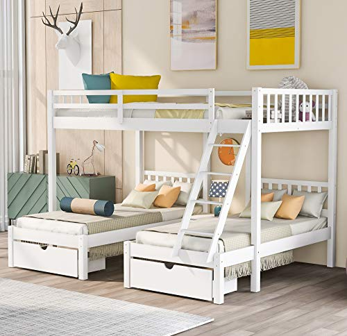 Bellemave Full Over Twin and Twin Bunk Bed