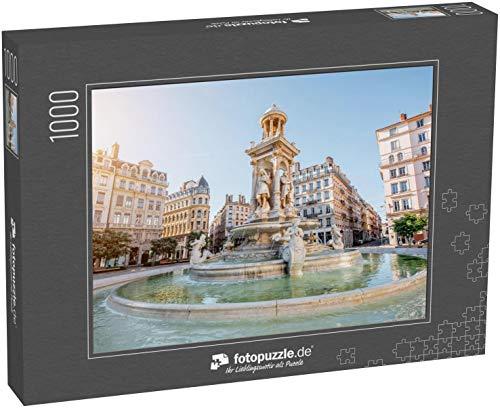 fotopuzzle.de Puzzle 1000 Teile Morgendlicher Blick auf den Jakobinerplatz und den schönen Brunnen in Lyon City, Frankreich (1000, 200 oder 2000 Teile)