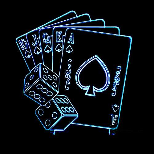 LLZGPZXYD 3D-lamp, creatief, LED, 7 kleuren, kleurverandering, poker, USB, decoratie, tovers, nachtlampje, picknick, kaart om te spelen Touch Switch