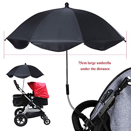 Urijk Kinderwagen Schirm mit Kunststoffklemme Sonnenschirm Regenschirm für Kinderwagen Buggy UV Schutz Schirm mit flexiblen Schwanenhals Sonnenschutz (Schirmdurchmesser 75cm Schirmlänge 51cm)