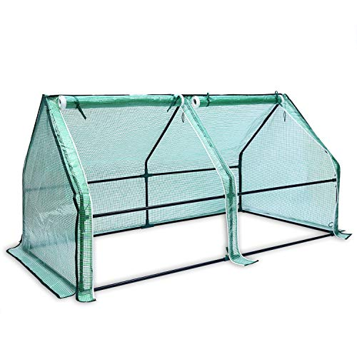 Ohuhu Portable House-Shaped Mini Greenhouse, 71' W x 36' D x 36' H Reinforced Greenhouse with Dual Large Zipper Doors & Ground Stables, Waterproof & UV Protected Green House for Garden/Patio/Backyard