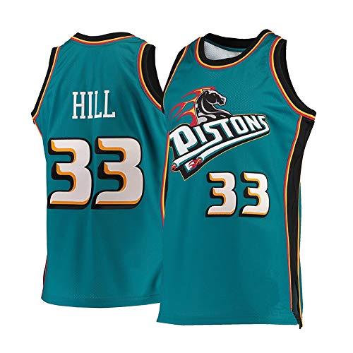 Herren Basketball Trikot - Detroit Pistons 33# Grant Hill Retro Bestickte Atmungsaktive Basketball Uniform Sommerhemd Weste Basketball Swingman Jungen Sportswear Top (S-XXL)-LightGreen-M(160.170cm)