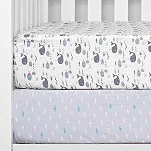 """crib bedding and baby bedding tillyou 2-pack printed fitted crib sheet set for boys or girls, 100% hypoallergenic cotton toddler bed mattress sheets, gentle to baby's sensitive skin, standard 28""""x52""""8"""", sea world/ocean fish"""