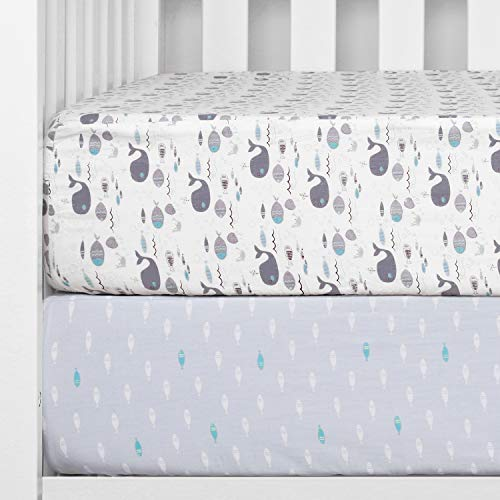 "TILLYOU Printed Crib Sheet Set, 100% Natural Cotton Toddler Sheet Set for Baby Boys and Girls, Soft Breathable Hypoallergenic, 28""x52"", 2 Pack Sea World (Gray) & Fish (Blue)"