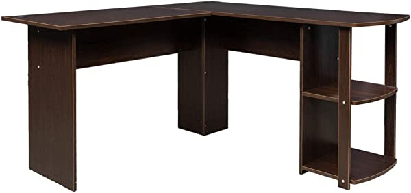 L Shaped Wood Right Angle Computer Desk With Two Layer Bookshelves Dark Brown