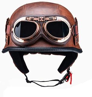 H-O Cascos de Moto Medios Cascos Chopper Casco de Bicicleta Cuero de PU Cara Abierta Casco de Moto Vintage con m/áscara de Gafas,L