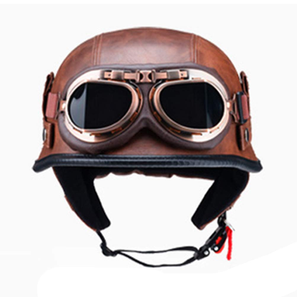 Amazon.es: Casco de motocross con gafas Retro Casco de motocicleta Medio casco de motocicleta Vespa Helm Moto Vintage Retro Cascos Para Moto German Solder Cascos abiertos Cascos de medio casco