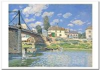 世界の名画 アルフレッド・シスレー ヴィルヌーヴ・ラ・ガランヌの橋 ジークレー技法 高級ポスター (B3/364ミリ×515ミリ)