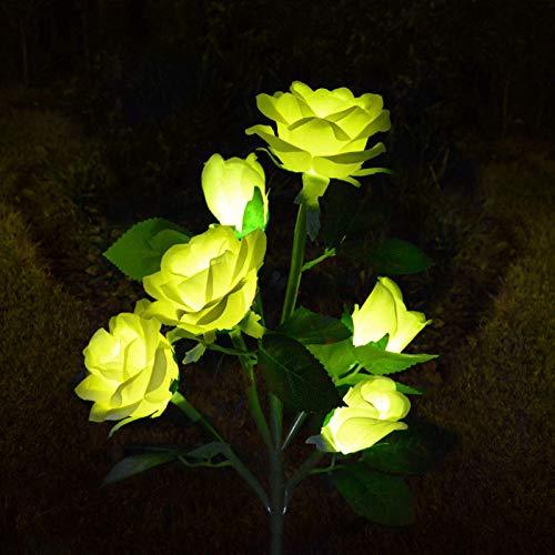 QULONG Luces solares para jardín Luces solares para jardín, Impermeables al Aire Libre, Luces de estaca Solar con 6 Flores Rosas para Cama de Flores, Patio, Patio, Recuerdo, jardín, Tumba, Pasarela