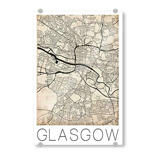 artboxONE Acrylglasbild 45x30 cm Städte Retro Map of Glasgow Scotland 2' - Bild Retro Map Great Britain Großbritannien