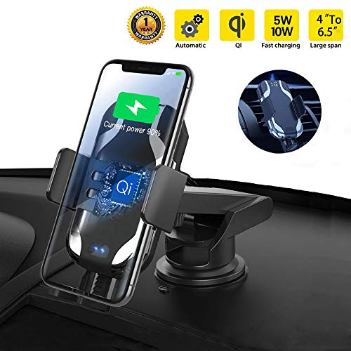 IQueen 10w One Touch Automatic Sensor Car Phone Holder Charger, Qi All In One Wireless Car Charger Mount for iPhone, Samsung, Moto, Huawei, Lg, Smartphone