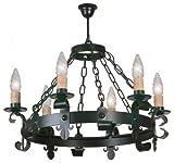 Lámpara de forja rustica para techo con 6 luces.