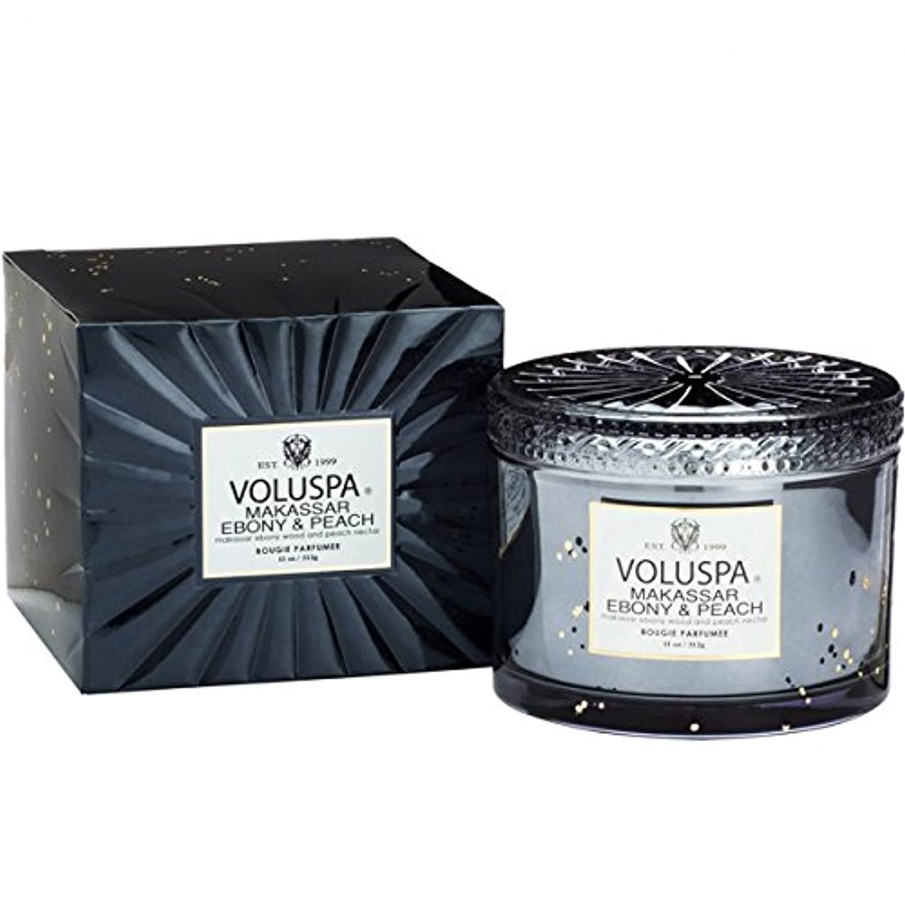 量で浴司令官Voluspa ボルスパ ヴァーメイル ボックス入り グラスキャンドル マカッサルエホ?ニー&ヒ?ーチ MAKASSAR EBONY&PEACH VERMEIL BOX Glass Candle