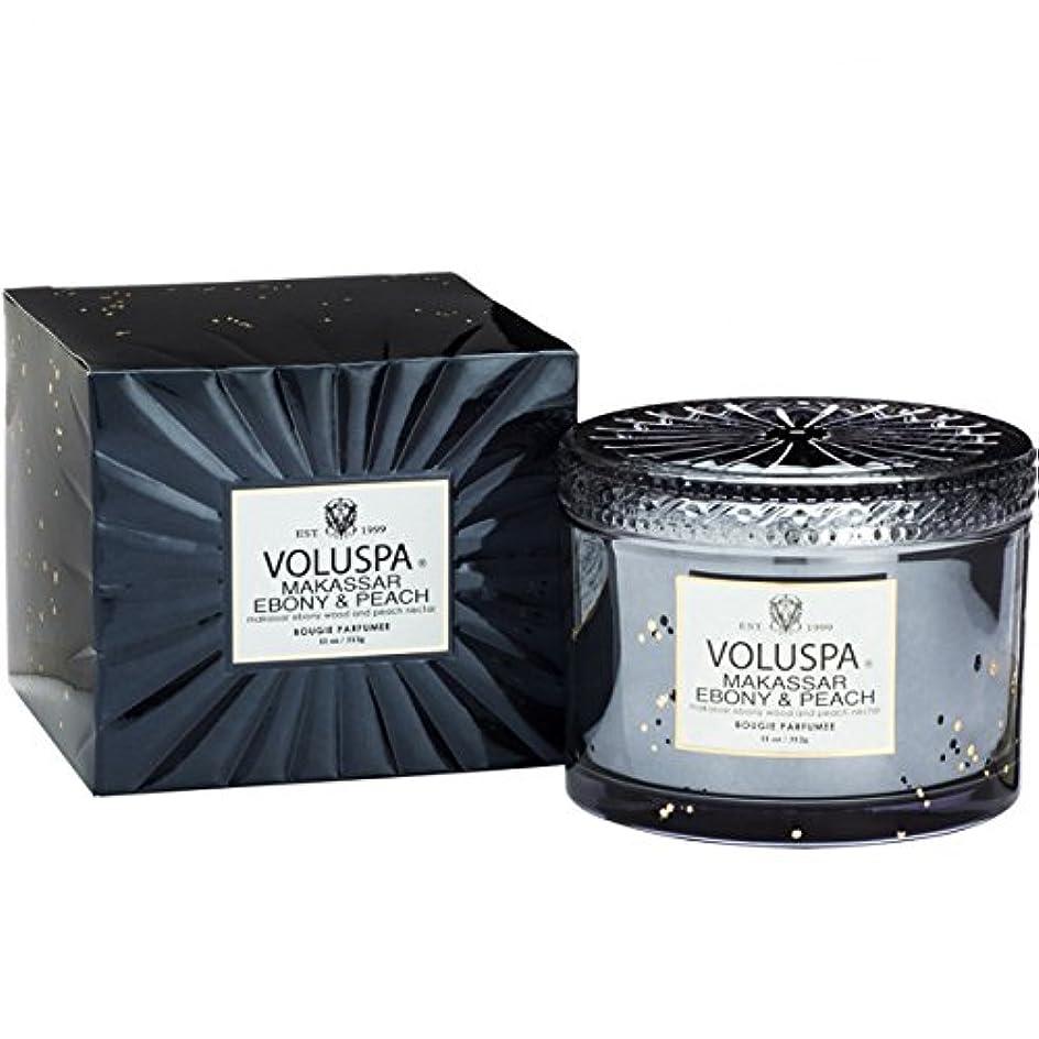 ガロンコマンド靴下Voluspa ボルスパ ヴァーメイル ボックス入り グラスキャンドル マカッサルエホ?ニー&ヒ?ーチ MAKASSAR EBONY&PEACH VERMEIL BOX Glass Candle