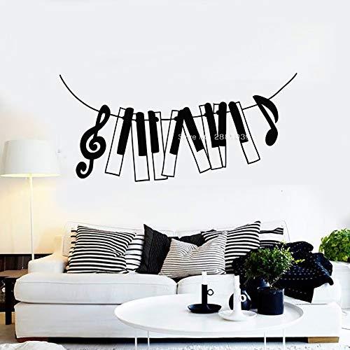 zqyjhkou Musik Vinyl Wandtattoos Piano Notes Violinschlüssel Tasten Aufkleber Wandbild Schlafzimmer Wohnzimmer Dekoration Kunst 64x30cm