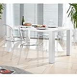 Esstisch-Gruppe weiß Hochglanz 120x80 cm recht-eckig mit 4 Igloo Design Stühlen | Luca | Essgruppe weiss 4 Stühle ohne Armlehnen | Design Tischgruppe mit Ess-Tisch weiß lackiert 120cm x...