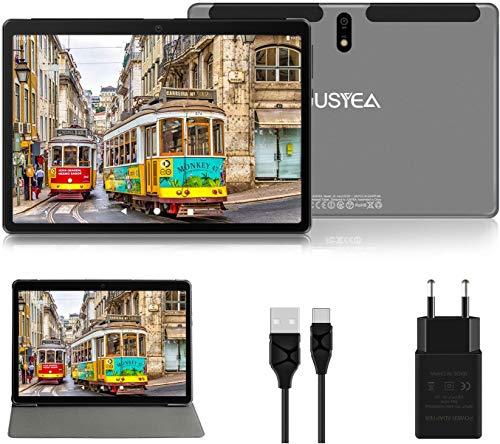 JUSYEA - Tablet da 10'', Android 10.0, ultra portatile, RAM 4 GB, 64 GB espandibile (certificazione Google GMS), batteria da 8.000 mAh e WiFi
