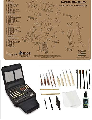 EDOG Gunslinger 20 PC Gun Cleaning Kit  Pistol Mat Compatible with SampW MampP Shield Tan  Schematic Exploded View Mat Gunslinger Universal 22 38 357 9mm 40 amp 45 Caliber Kit