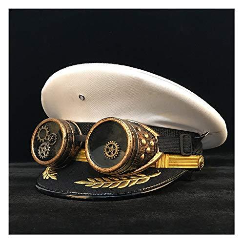 LHZUS Sombreros de mujer y hombre Steampunk, gorra con visera Steampunk Cortical Costume Accesorios para cosplay Talla S M L XL XXL (color: blanco, tamaño: 56 cm)