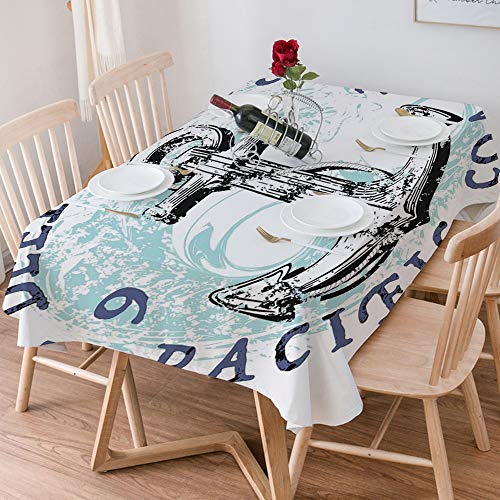 Tablecloth Rectangle Cotton Linen,Anchor,Deep Blue Sea Pacific Coast Vintage Emblem from 1976 Grungy,Waterproof Stain-Resistant Tablecloths Washable Table Cover for Kitchen Dinning Party (140x200 cm)