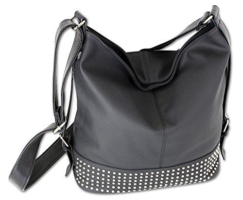 Jennifer Jones Taschen Große schwarze Damen Tasche Handtasche Schultertasche Umhängetasche Shopper-Tasche groß (Schwarz)