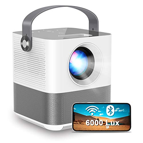 "FANGOR WiFi Projector, 200"" Display&1080P Supported, 360° Speaker/Bluetooth, 6000Lux Portable wirelss Mini Projector for Outdoor Movie, Sync Smartphone Screen via WiFi/USB Cable, for iOS/Android"