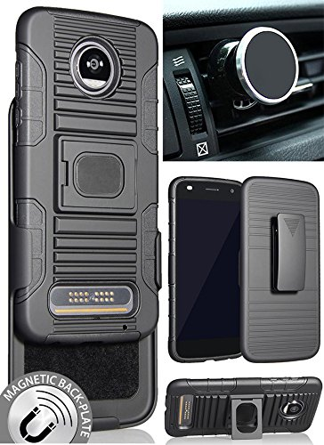 Moto Z2 Play/Force Case/Mount/Clip, Nakedcellphone's Black Ring Grip Case Cover + Belt Clip Holster Stand + Magnetic Car Mount for Motorola Moto Z2 Play/Force (XT1789/XT1769/XT1710)