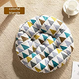 Cheeseland【Many Kind 19.7round Pillow Floor Pillow Japanese Futon Chair Pad Tatami Floor Cushion Yellow Cushion for Living Room Balcony Outdoor Children's Play Area (Colorful Trangle, L-19.7