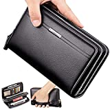 Cyber Sale Monday Deals Mens Long Leather Cellphone Clutch Wallet Purse for Men Large Travel Business Hand Bag Cell Phone Holster Card Holder Case Gift for Father Son Husband Boyfriend