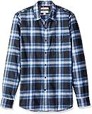 Amazon Brand - Goodthreads Men's Slim-Fit Long-Sleeve Brushed Flannel Shirt, Navy Blue Plaid, Medium
