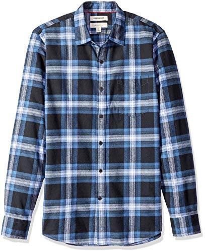 Marchio Amazon - Goodthreads, camicia in denim da uomo, vestibilità slim, a maniche lunghe, in flanella spazzolata, Blu (navy blue plaid), US XXL (EU XXXL - 4XL)