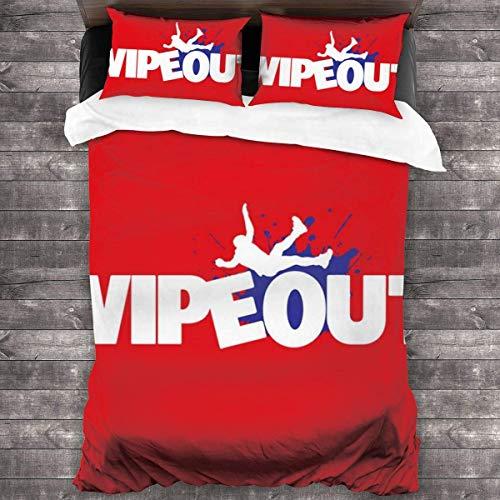 N \ A Wipeout - Juego de ropa de cama de 3 piezas con funda de edredón de 2016 x 180 cm, 3 piezas decorativas con 2 fundas de almohada