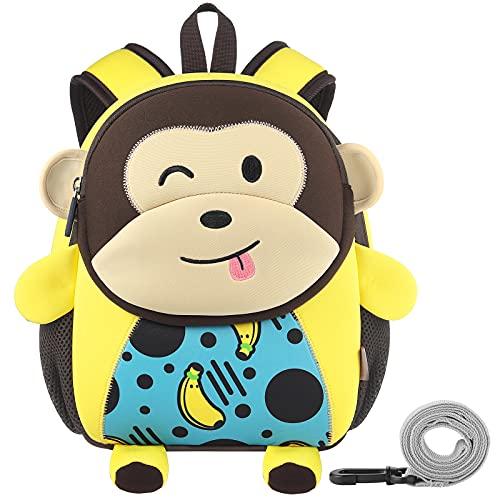 GAGAKU® Mochila infantil para niños de 2 a 6 años con dibujos animados en 3D, de neopreno, para guardería, con correa para el pecho y correa antipérdida., 4 monos, S