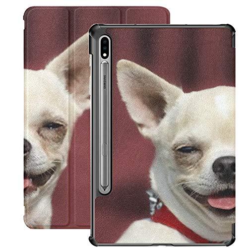 Funda para Galaxy Tab S7 Funda Delgada y Ligera con Soporte para Tableta Samsung Galaxy Tab S7 de 11 Pulgadas Sm-t870 Sm-t875 Sm-t878 2020 Release, Dog Chihuahua Head Portrait Shorthaired Red