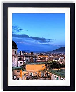 SHADENOV Black Wood Framed Wall Art - Italy Naples Buildings Roof Sky View from above - Art Print Pictures For Wall Decoration 12x16 Inches