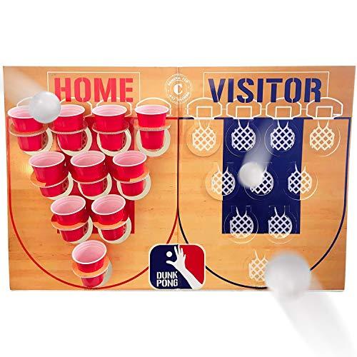Offizielles Original Dunk Pong Set | 1 Korbbrett + 40 Blaue und rote 53cl Becher + 6 Bälle | Beer Pong Spiel Basketball Version | Premium Qualität | Trinkspiel | OriginalCup®