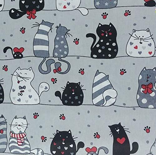 Pingianer 8,98€/m Katze 100% Baumwolle 50x160cm Baumwollstoff Meterware Handwerken Nähen Stoff (Katze Grau Pfoten)