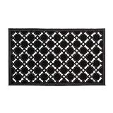 Relaxdays – Felpudo Rectangular Decorativo para la Entrada del hogar, 0.5 x 75 x 45 cm, Hecho de Caucho/Goma, Antideslizante, Color Negro