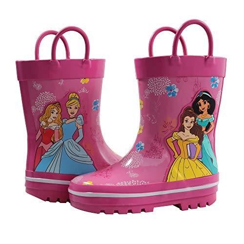 Amazon Essentials Kids' Disney Princess Rain Boot, Pink, 7/8 Medium US Toddler