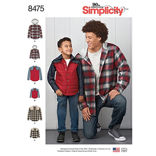 Simplicity Men's and Boy's Shirt Jacket Sewing Patterns, Sizes S-L Sizes S-XL