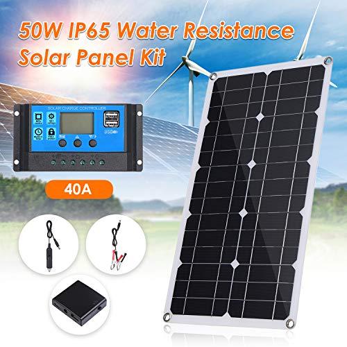 Lixada 50W Pannello Solare Flessibile con Interfaccia USB per Auto 10/20/30/40/50A Regolatore Solare per Harge C C65 Resistenza all'Acqua IP per la Casa Auto Barca Uso Esterno Interno