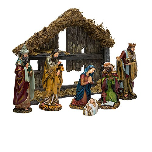 Kurt Adler 6-Inch Resin Nativity Set of 7 Pieces