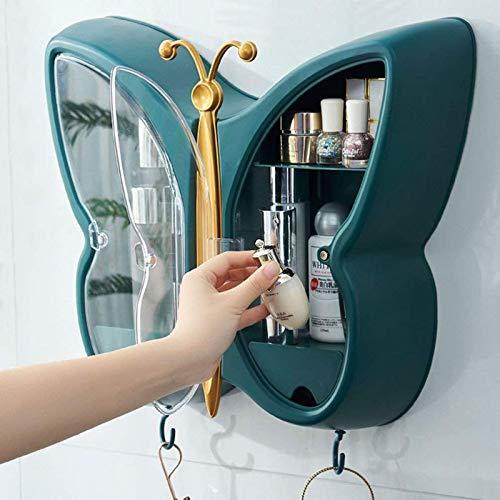 Modernen Aufbewahrungsbox Makeup Organizer,Schmetterling Form Schön Kosmetik Aufbewahrungsbox Für Badezimmer,Hängende Schönheit Aufbewahrungshüllen,Kosmetik Organizer Wandboxen Anz-Grün 41x37x12.5cm(1