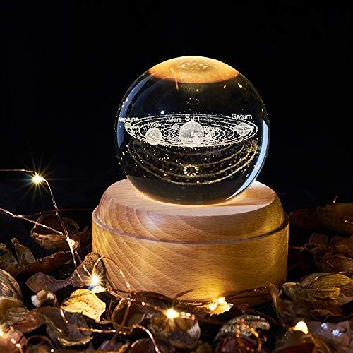 BIOBEY Luz Nocturna De Proyección Led, Caja De Música con Bola De Cristal 3D, Base De Madera, Luna, Tierra, Vía Láctea, Luz De Proyección De Patrón del Sistema Solar