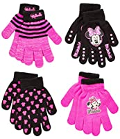 Disney Toddler and Little Girls Minnie Mouse and Vampirina Gloves or Mittens (4 Pack), Size Age 4-7, Minnie Gloves Pink/Black