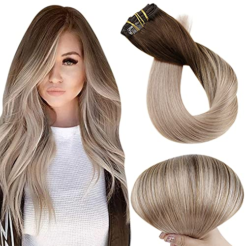 Full Shine Clip in Hair Extensions Straight 5 Pieces Double Weft Real Human Hair Clip in Extensions Dark Brown Balayage Ash Blonde 100 Gram 22 Inch for Long Hair