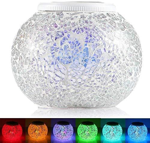 Solar Lights® mozaïek nachtlampje kleurverandering glas waterdicht voor tuintafel interieurdecoratie (zilver)
