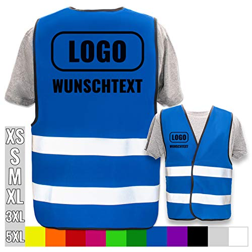 PixiPrints.com Persönliche Warnweste selbst gestalten mit eigenem Aufdruck * Bedruckt mit Name Text Bild Logo Firma, Menge:3 Warnwesten, Farbe/Position:Blau/Rücken + rechte Brust